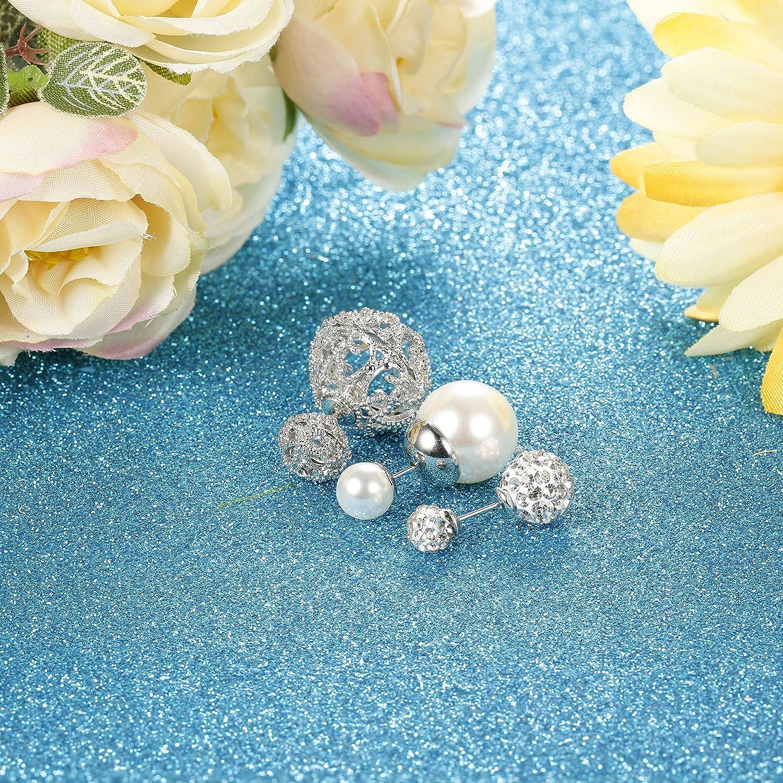 JOERICA 3 Pairs Crystal Double Ball Stud Earrings for Women Girls Faux Pearl Beads Earrings Stud Double Side