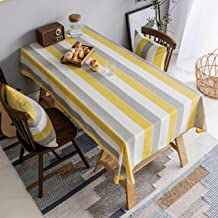 Home Brilliant Yellow Tablecloth Waterproof Striped Farmhouse Colorful Table Covers for Party Kitchen Indoor Outdoor, 52x7...