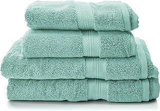 Pinzon Lot de 2 draps de bain + 2 serviettes de bain en coton Pima Vert minéral