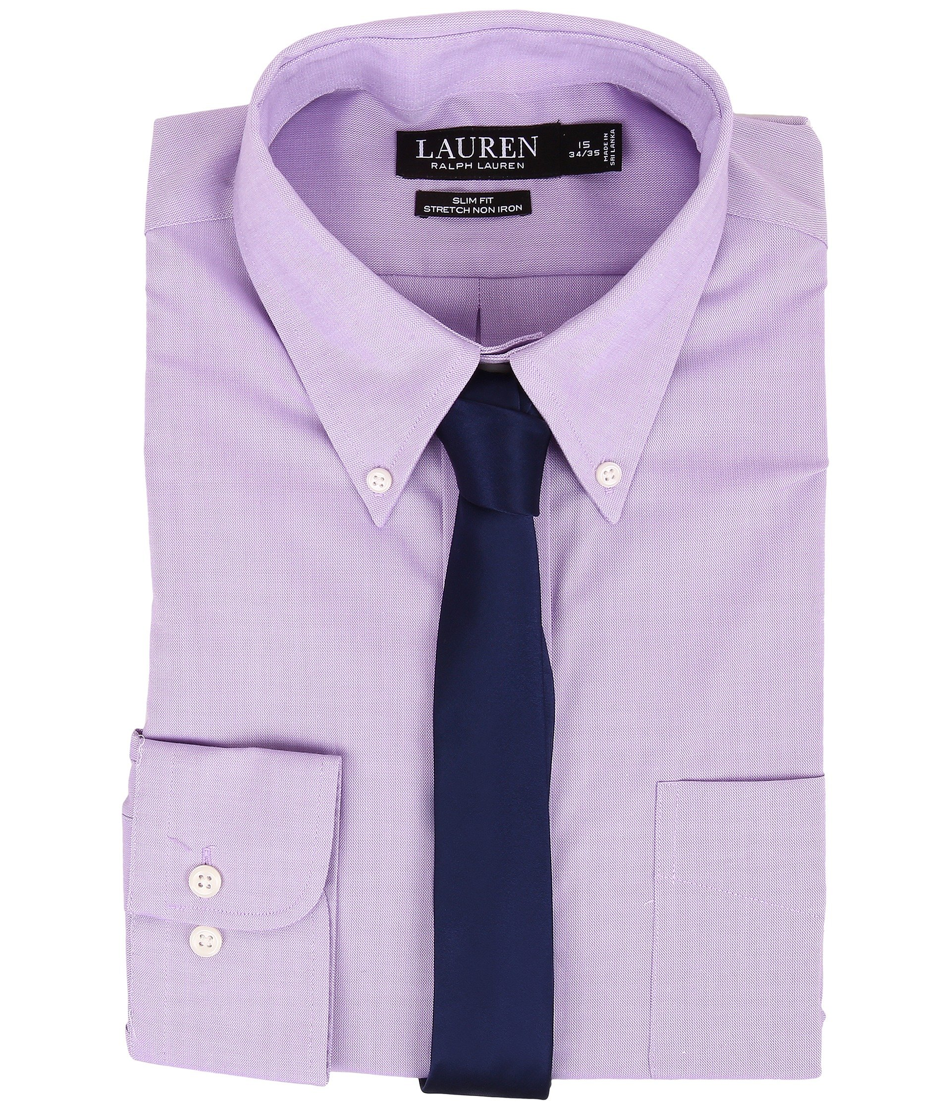 Lauren ralph lauren slim fit stretch non iron pinpoint for Pinpoint button down dress shirt