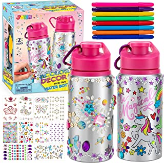 JOYIN 2 Pcs Color and Decorate Your Own Water Bottles with 10 Sheets Adhesive Gems Stickers and 8 Water Color Pens, Crafts...