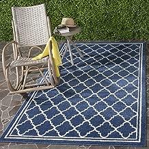 Safavieh Amherst Collection AMT422P Navy and Beige Indoor/ Outdoor Area Rug (4' x 6')
