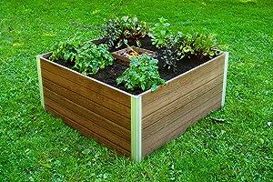Vita Urbana 4'x4'x22 Composting Keyhole, Espresso Brown VT17501 Garden Bed