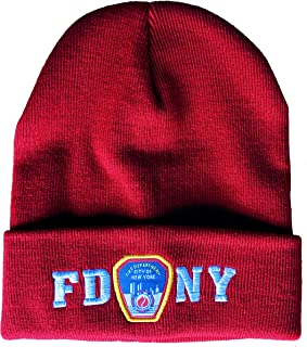 FDNY Winter Hat Police Badge Fire Department of New York City Red & White One.
