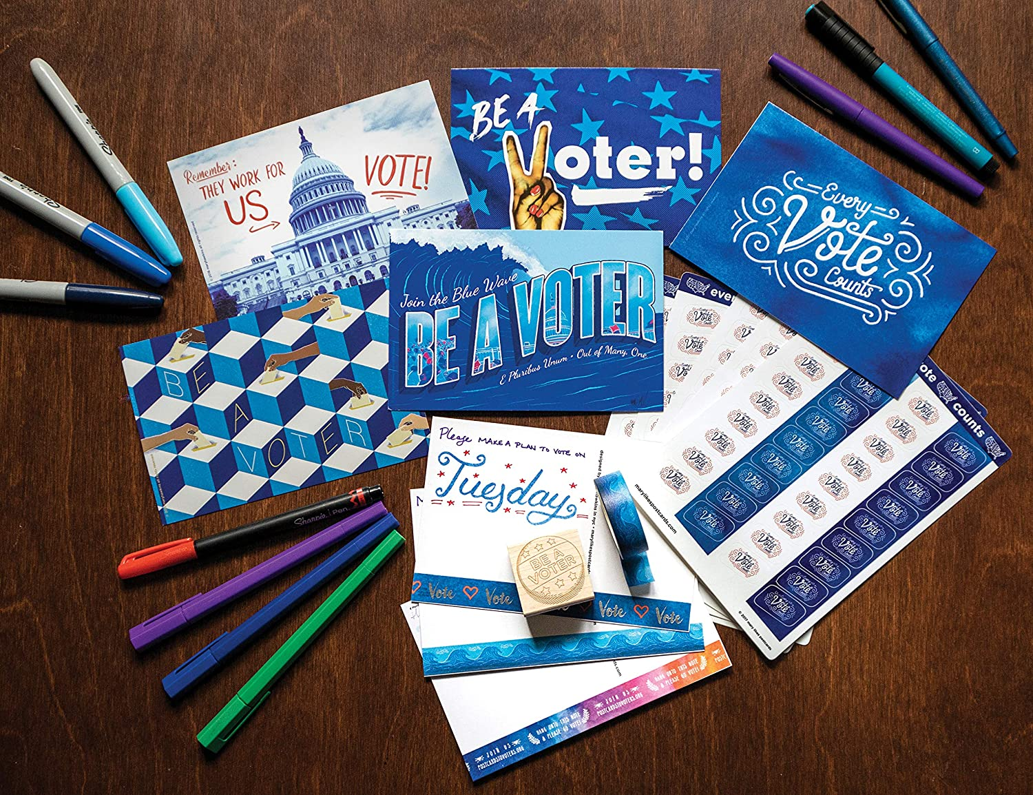 perfect for writing to your reps or get out the vote Political Postcards Set of 50 blueEvery Vote Counts postcards