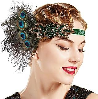 Vintage 1920 Jahre Flappes Stirnband Kopfbedeckung mit Federn Deko Haarband