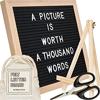 Venture Scout Felt Letter Board - 10x10 inch Oak Frame with Black Felt - Set Includes 364 Changeable White 3/4 Letters and Characters, Drawstring Canvas Bag, Adjustable Wood Stand, and Craft Scissors
