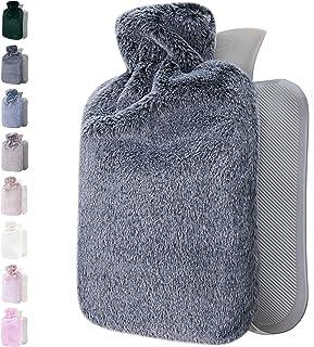 بطری آب گرم با روکش نرم - بزرگ 1.8 لیتری - کیسه آب گرم برای تسکین درد ، گردن و شانه ها ، گرم کننده پا ، گرفتگی قاعدگی ، درمان سرد و گرم - هدیه عالی برای خانم ها و دختران (خاکستری تیره)
