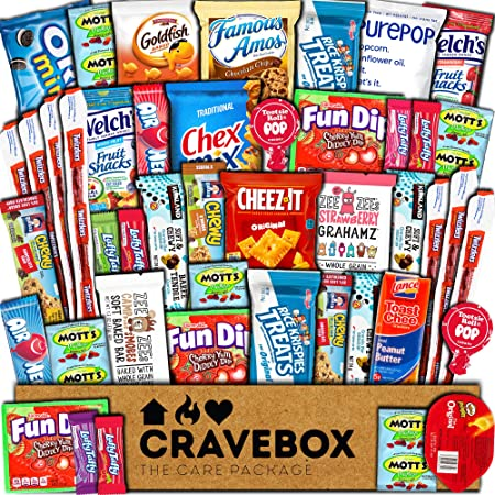 CraveBox Care Package (45 Count) Snacks Food Cookies Chocolate Bar Chips Candy Ultimate Variety Gift Box Pack Assortment Basket Bundle Mix Bulk Sampler Treat College Students Final Exam Office Spring