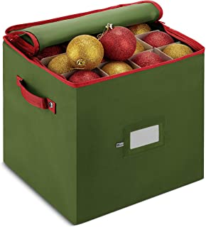 ZOBER Christmas Ornament Storage Box with Zippered Closure - Protect & Keeps Safe Up to 64 Holiday Ornaments & Xmas Decorations Accessories, Durable Non-Woven Ornament Storage Container & Two Handles