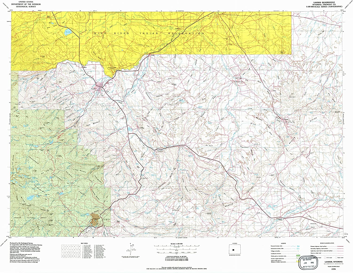 Lander WY topo map, 1 100000 Scale, 30 X 60 Minute, Historical, 1978, Updated 1979, 26.8 x 35.5 in
