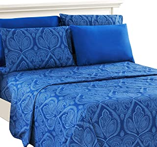 Lux Decor Collection Bed Sheet Set - Brushed Microfiber 1800 Bedding - Wrinkle, Stain and Fade Resistant - Hypoallergenic - 6 Piece (Queen, Paisley Navy Blue)