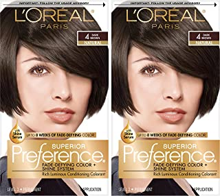 L'OrÃal Paris Superior Preference Fade-Defying + Shine Permanent Hair Color, 4 Dark Brown, 2 Count Hair Dye