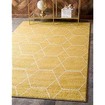 Unique Loom Trellis Frieze Collection Lattice Moroccan Geometric Modern Yellow Area Rug (5' 0 x 8' 0)