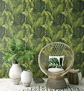 NextWall Tropical Banana Leaves Peel and Stick Wallpaper. (Green)