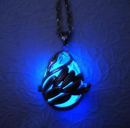 Lunar Dragon Dragon Moon Glow in the Dark Luminous Necklace Pendant Wrapped Stone Glowing Dragon