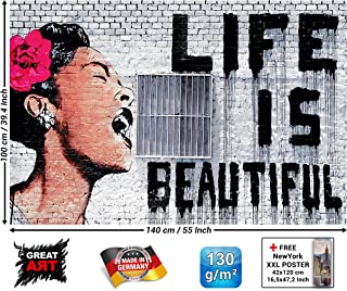 Poster – Banksy Graffiti Artist – Mural Decoration Life is Beautiful Pop Art Street Style Street Art Stencil Street Artists Wallposter Photoposter Wall Decor (55 x 39.4 Inch/ 140 x 100 cm)