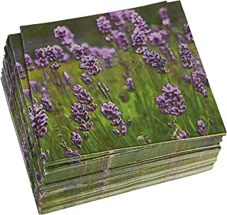 100 Pack Decorative Dinner Napkins - Disposable Paper Party Napkins with Purple Lavender Flower Design, Perfect for Wedding and Shower Decorations, Birthday Party Supplies, 6.5 x 6.5 Inches, Greenery