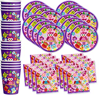 Patchwork Owl Birthday Party Supplies Set Plates Napkins Cups Tableware Kit for 16 by Birthday Galore