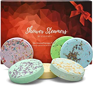 Cleverfy Shower Steamers Aromatherapy - Variety Pack of 6 Shower Bombs. Red Set: Peppermint, Lavender, Pomegranate & Rose,...