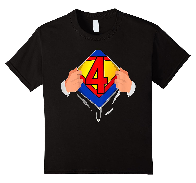 4 Year Old Superhero Birthday Party Super Hero 4th Gift Shirts