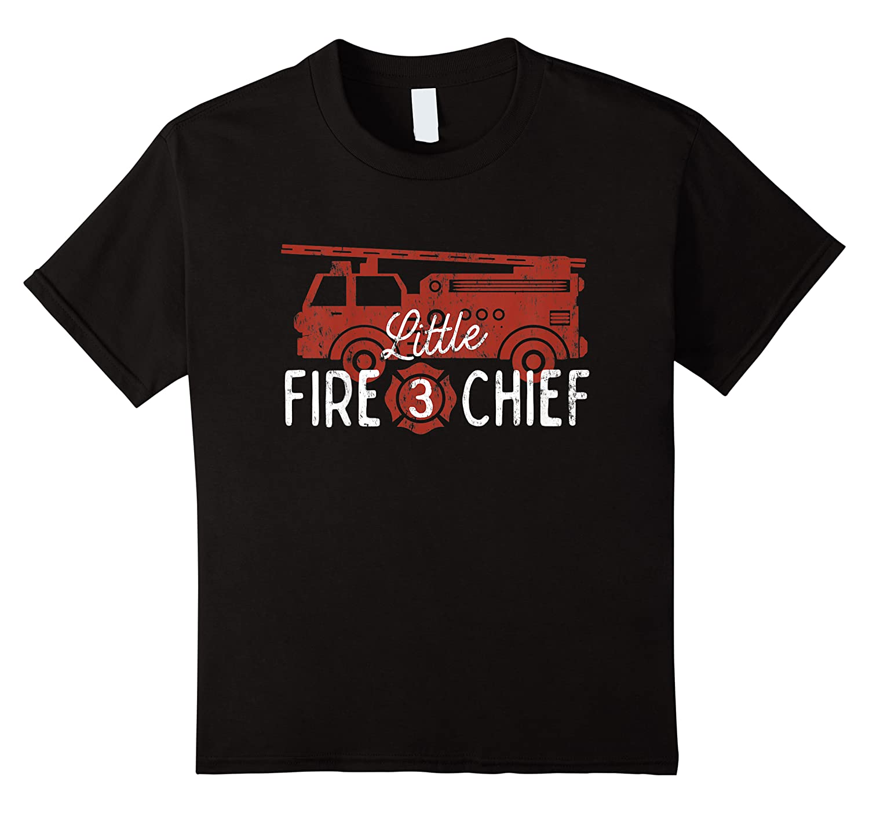Kids 3rd Birthday Firetruck, Boys 3 Year Old Fireman Party Shirts