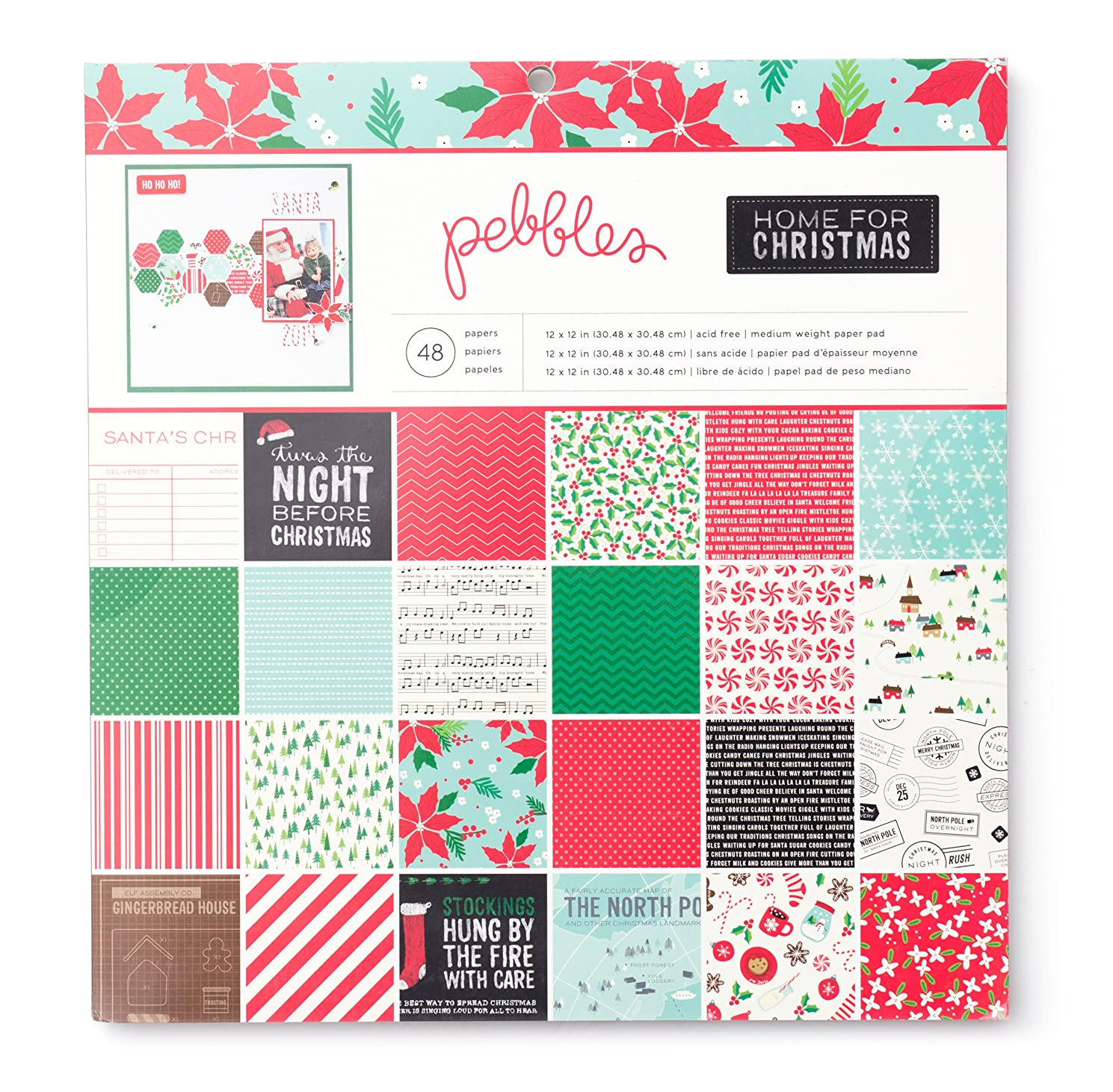 Pebbles Home for Christmas Patterned Paper Pad, 12 by 12-Inch
