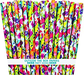 Outside the Box Papers Watercolor Floral Paper Straws 7.75 Inches 75 Pack Pink, Purple, Blue, Yellow, Green