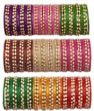 Newmakeinindia Multicolor Glass Bangles Studded With Zircon Style For Women & Girls