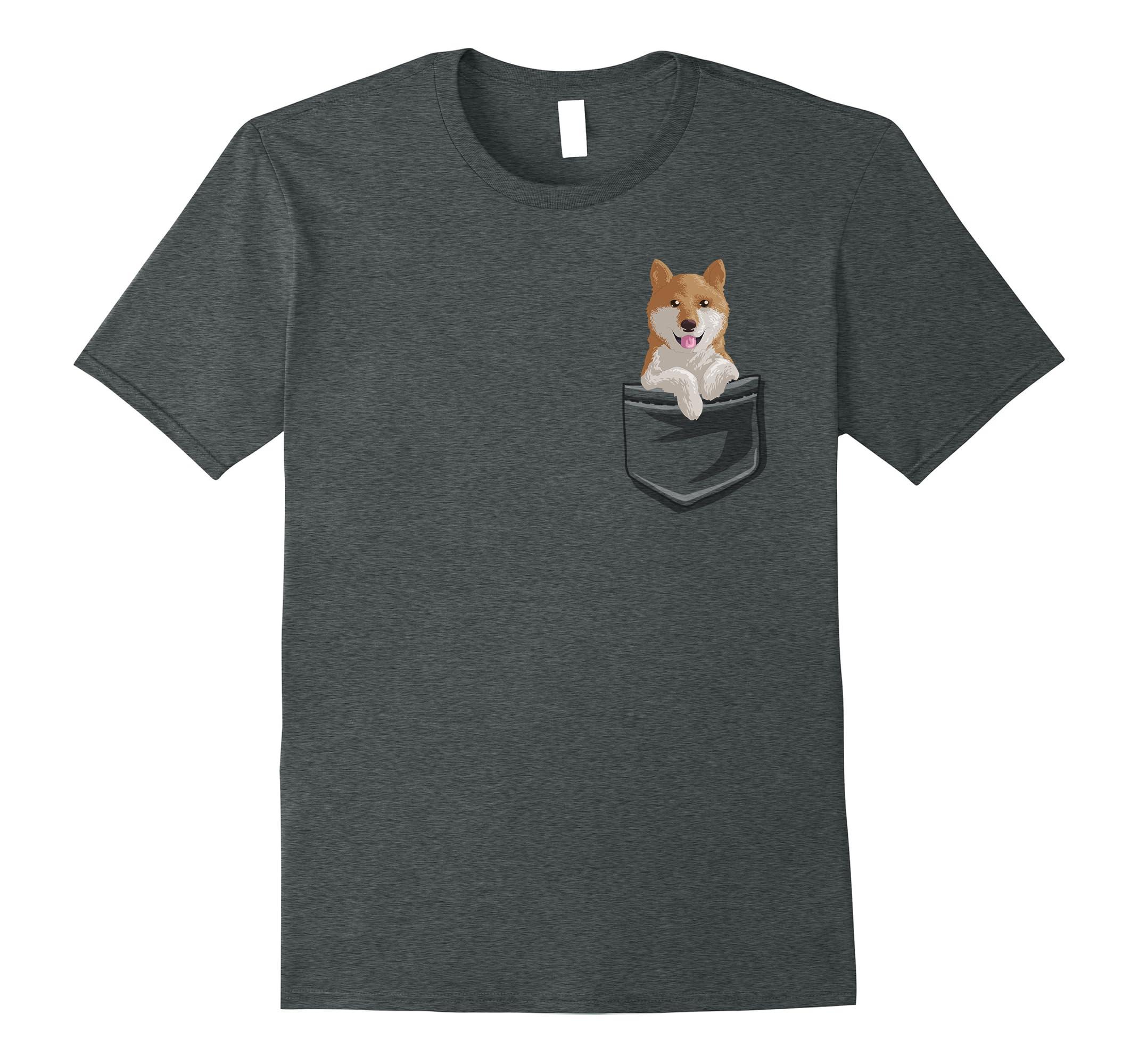 Shiba Pocket T Shirt Puppy Shirt-Tovacu