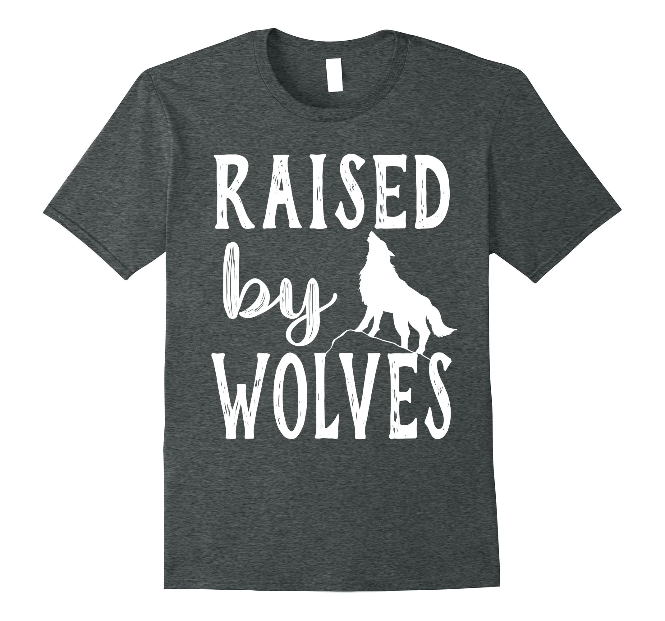 f836a4927faf Amazon.com: Raised By Wolves Graphic Wolf T-Shirt: Clothing