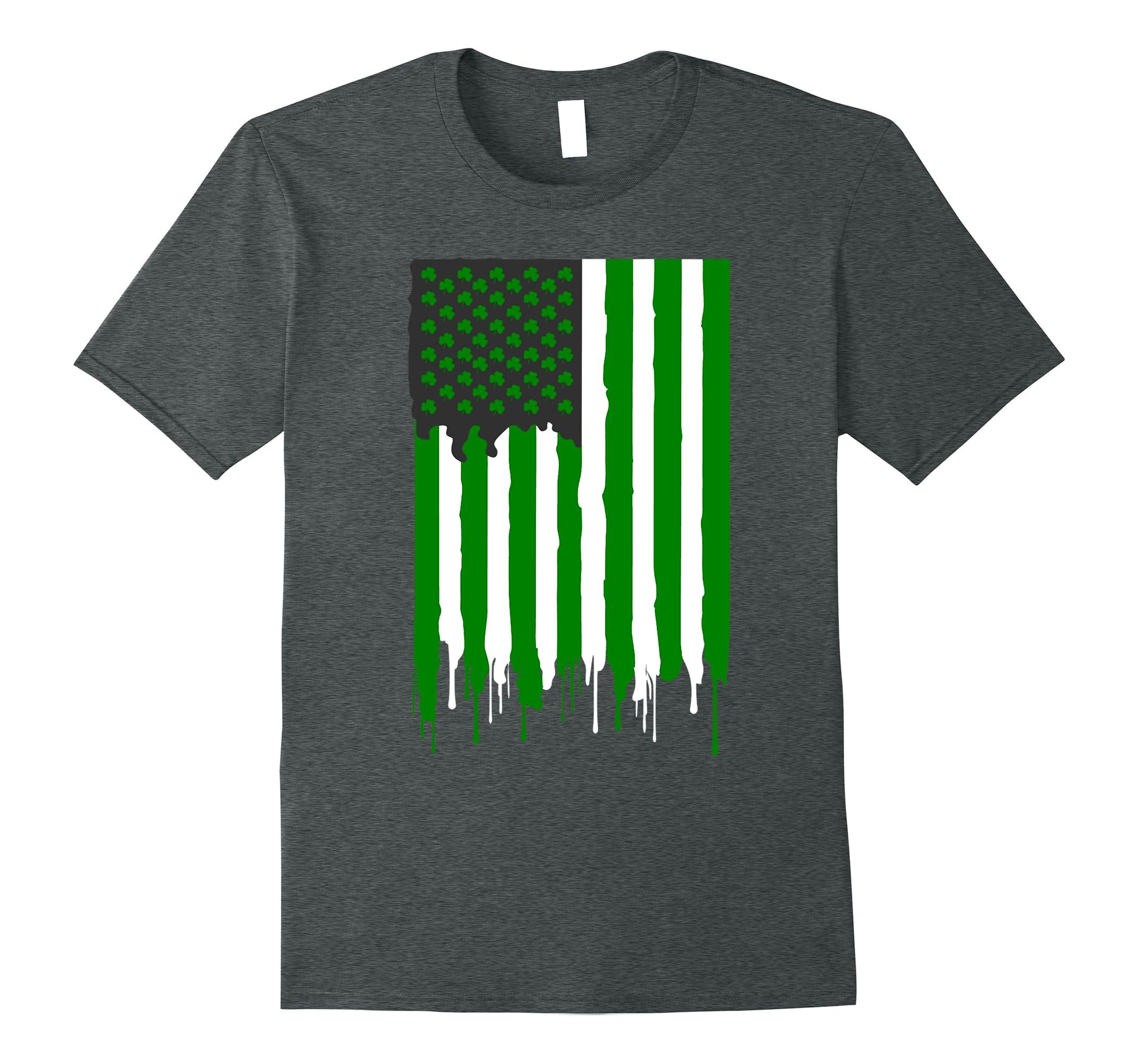 1d4438817d St. Patrick s Day Irish Green shamrock American Flag Shirt-ah my shirt one  gift