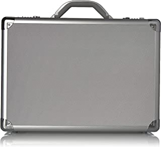 Solo New York Fifth Avenue 17.3-Inch Aluminum Laptop Attaché Briefcase, Hard-Sided with Combination Locks, Silver