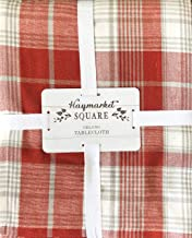Haymarket Square Fabric Tablecloth Red Gray White Holiday Plaid Pattern with Thin Silver Metallic Thread Stripe Highlights 60 Inches by 60 Inches Square