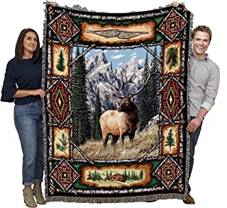 Pure Country Weavers - Elk Lodge Woven Large Soft Comforting Throw Blanket with Artistic Textured Design Cotton USA 72x54 Cotton USA Perfect Lodge Decor Gift