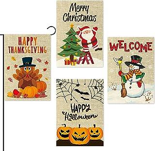WATINC 4Pcs Garden Flag Happy Halloween Thanksgiving Merry Christmas Welcome Fall Winter Holiday Decorations Pumpkins Turk...