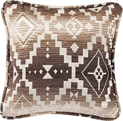 Amazon Com Hiend Accents Chalet Aztec Rustic Throw Pillow 18 X 18 Tobacco Brown Home Kitchen