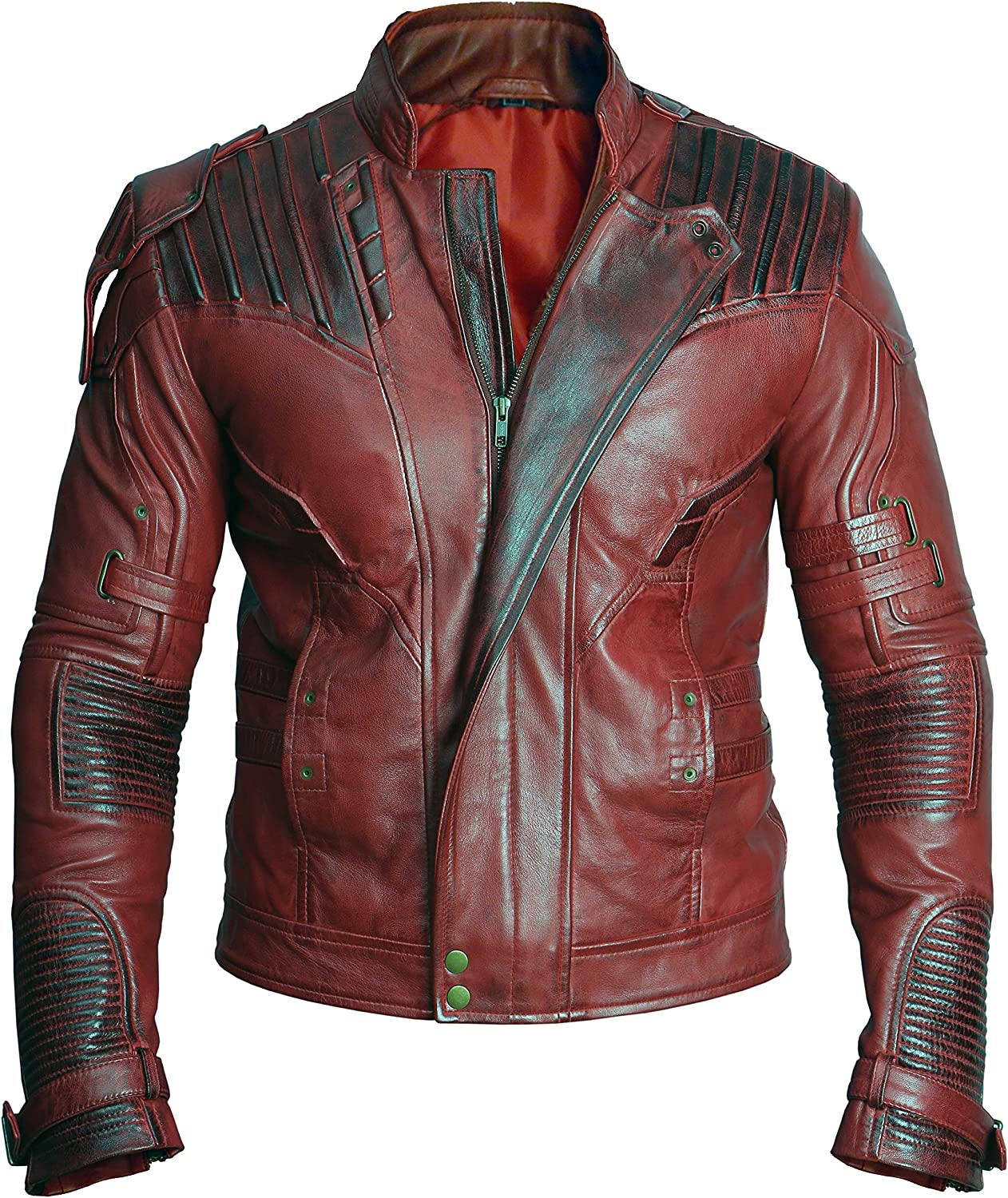 Mens Motorcycle Super Special SALE held Ranking TOP11 Biker Red Jacket Real Leather Star