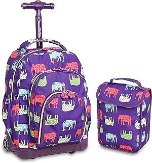 مجموعة حقيبة ظهر وحقيبة غداء للأطفال بتصميم لولي بوب من جيه ورلد للمدرسة الابتدائية. حقيبة محمولة بعجلات