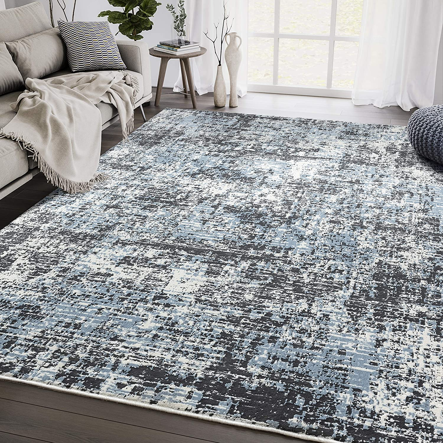 Black Blue Abstract 7'9'x10'2' Modern Rug Collecti Aspen Area Be super welcome San Antonio Mall