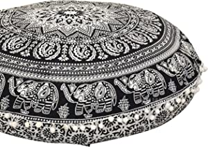 "ANJANIYA - 32"" Elephant Mandala Bohemian Yoga Meditation Floor Pillow Cover Comfortable Home Car Bed Sofa Cushion Couch Seating Large Zipped Throw Hippie Decorative Ottoman Boho Indian (Black & White)"