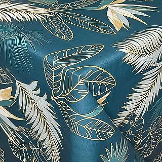 KEVKUS Nappe de Table en Toile Cirée C14213G Palmiers Feuilles' Pétrole Or Carré Rond Oval - Bleu, 140 x 200 cm eckig