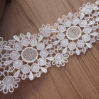 1 Yard Polyester Circle Floral Lace Trim Ribbon Edge 4.8cm Width Vintage Style White Edging Thin Trimming Fabric Embroidered Applique for Sewing Craft Wedding Bridal Dress Clothes Socks DIY Embroidery