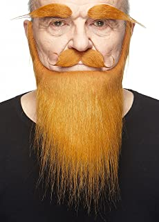 Mustaches Self Adhesive, Novelty, Medieval King Fake Beard, Fake Mustache and Fake Eyebrows, Costume Accessory for Adults