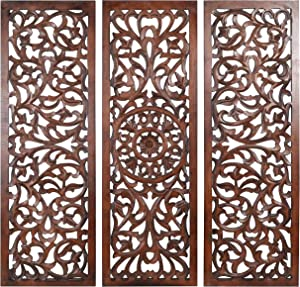 Wooden Designer Wall Hanging Plaques/Wall Plaque Wall Décor Plaques Set of 3 - 36x12 Inch - Burnt, Elegant Sculpture Wall Décor Panel to Enhance the Décor of Your Room or Office