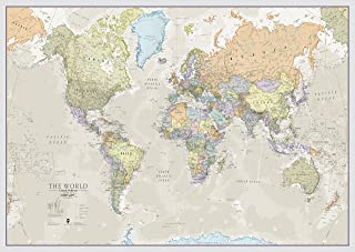 World Map Classic Style - Front Sheet Lamination - Cartographic Detal (A0 46.8 (w) x 33.1 (h) inches)
