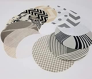 Silvery Mist Jar Topper Set, Dozen (12) Handcrafted Fabric Circles YoYo