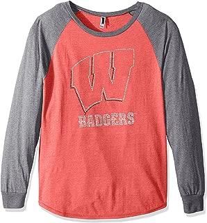 Nitro USA NCAA Wisconsin Badgers Womens Collegiate Fan Bling Raglan Tee, X-Large, Red/Grey
