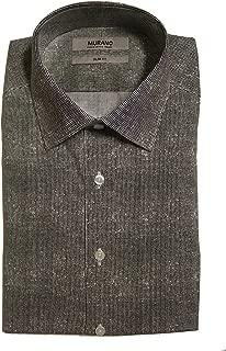 Slim Fit Spread Collar Dotted Dress Shirt F75DM030 Black