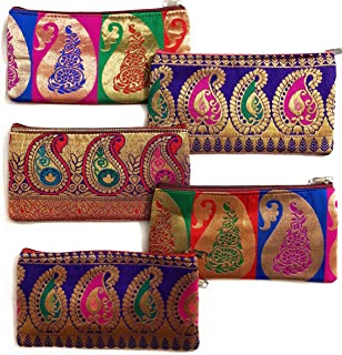 Set of 5 jewelry or makeup pouch/Return Gift for Pooja, Housewarming/Designs Vary